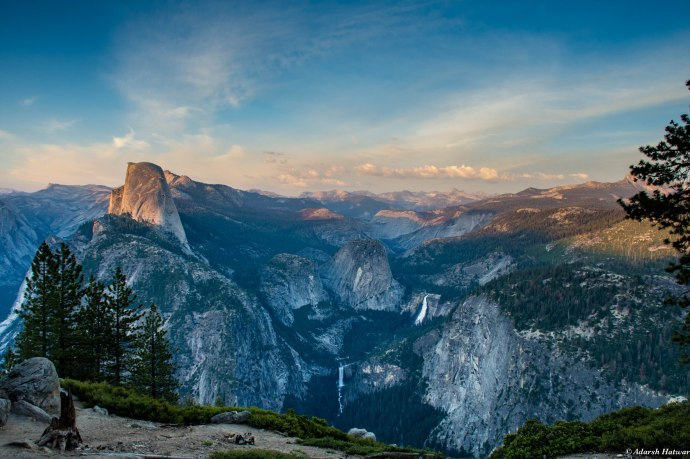 View from Glacier Point - Half Dome to the left, Vernal Falls in the center and Nevada Falls to the right
