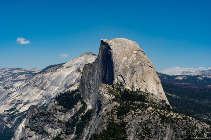 A closer view of Half Dome from Glacier Point
